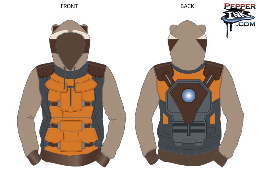 Rocket Raccoon Hoody design for Marvel at San Diego Comic Con by illustrator Eric Maruscak.