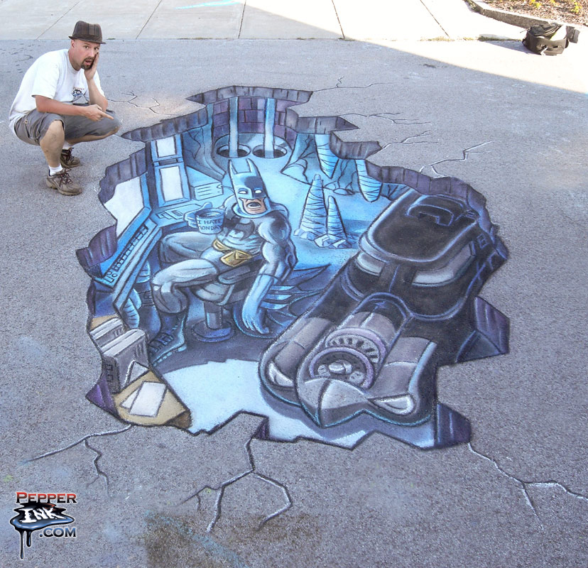 3D Batman original artwork and Chalk Art by illustrator Eric Maruscak.