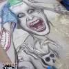A street art chalk drawing of Jared Leto as the Joker from Suicide Squad, by illustrator Eric Maruscak.