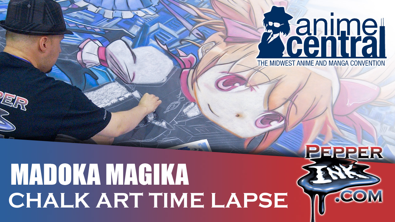 Madoka Magica Chalk Art Time lapse at Anime Central