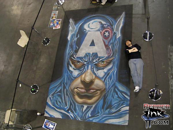 Chalk Art Alex Ross Captain America at the New York Comic Con