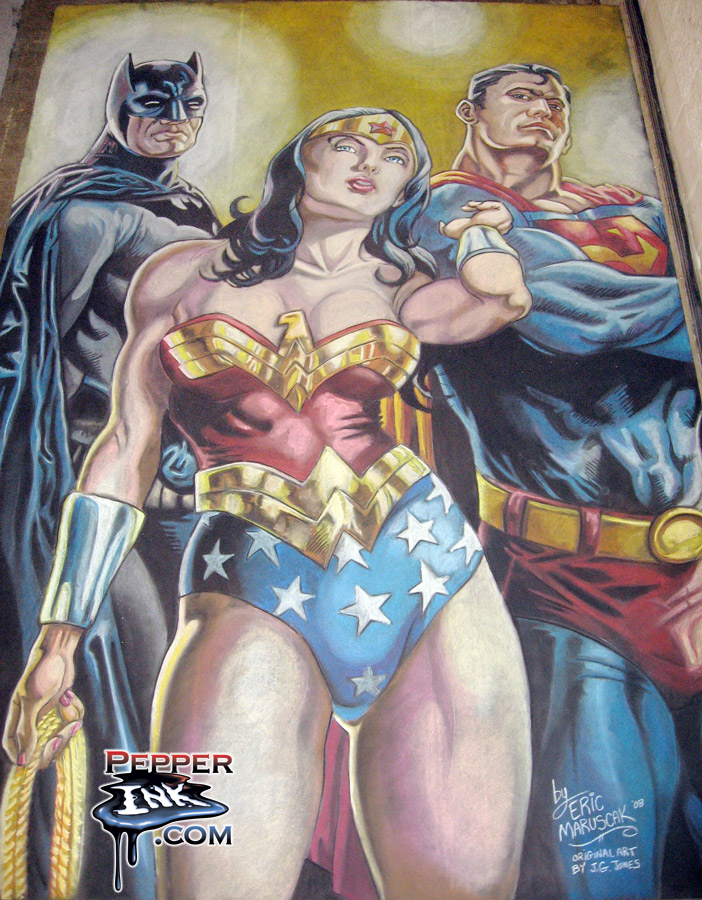 Chalk Art Batman, Wonder Woman and Superman at Wizard World Philadelphia