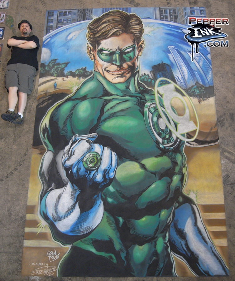 Chalk Art Ivan Reis Green Lantern at C2E2 in Chicago