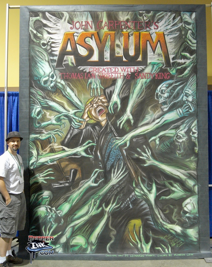 Chalk Art of John Carpenter's Asylum Comic Book at Long Beach Comic Con