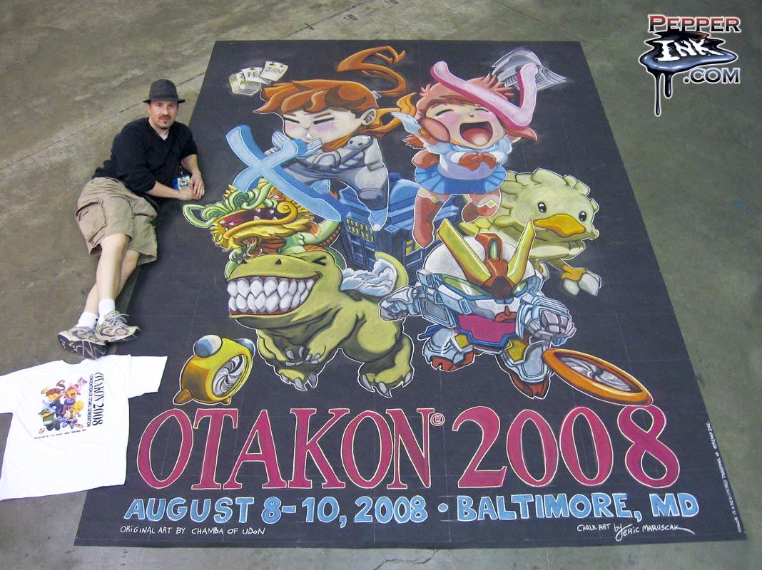 Chalk Art cute anime characters at Otakon 2008