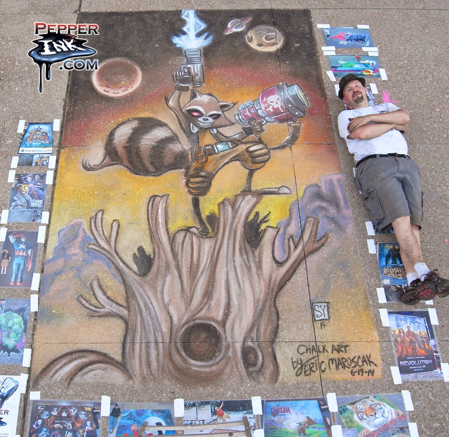 Chalk art of Skottie Young Rocket Raccoon and Groot from Guardians of the Galaxy