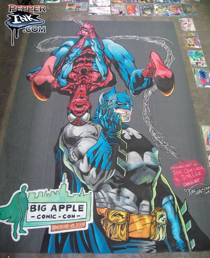 Chalk art of Joe Quesada Spider-Man and Jim Lee Batman made at the Big Apple Con