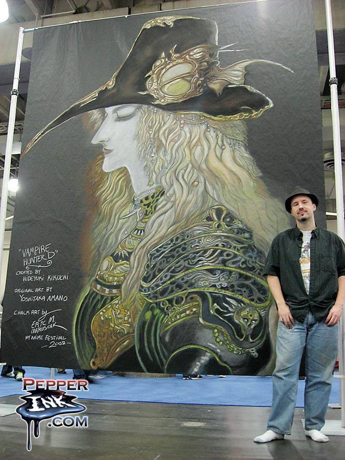 Chalk Art Vampire Hunter D by Yoshitaka Amano
