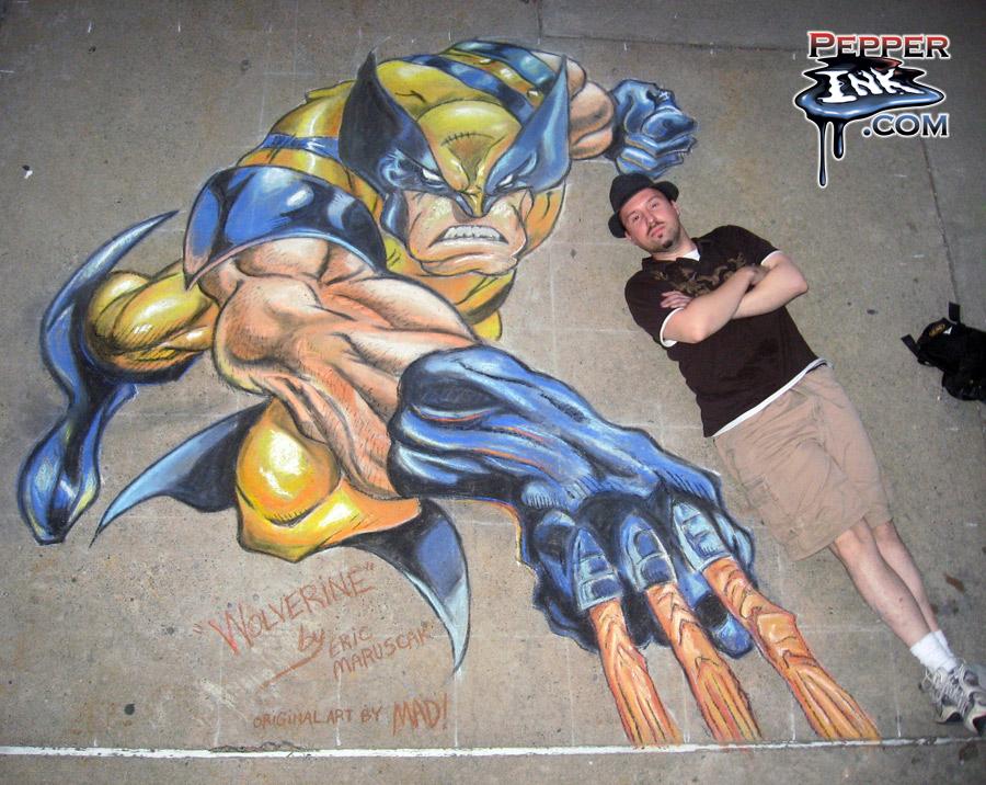 Joe Madureira chalk art Wolverine from the X-Men