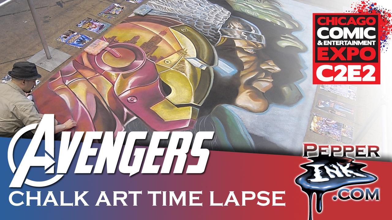 Alex Ross Avengers Chalk Art Time lapse