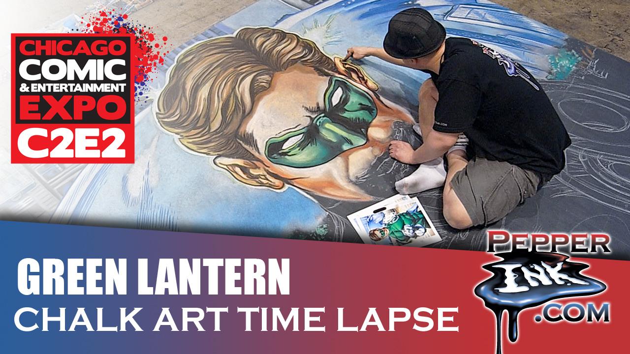 Ivan Reis Green Lantern Chalk Art TIme Lapse