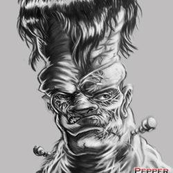 frankenstein character concept sketch