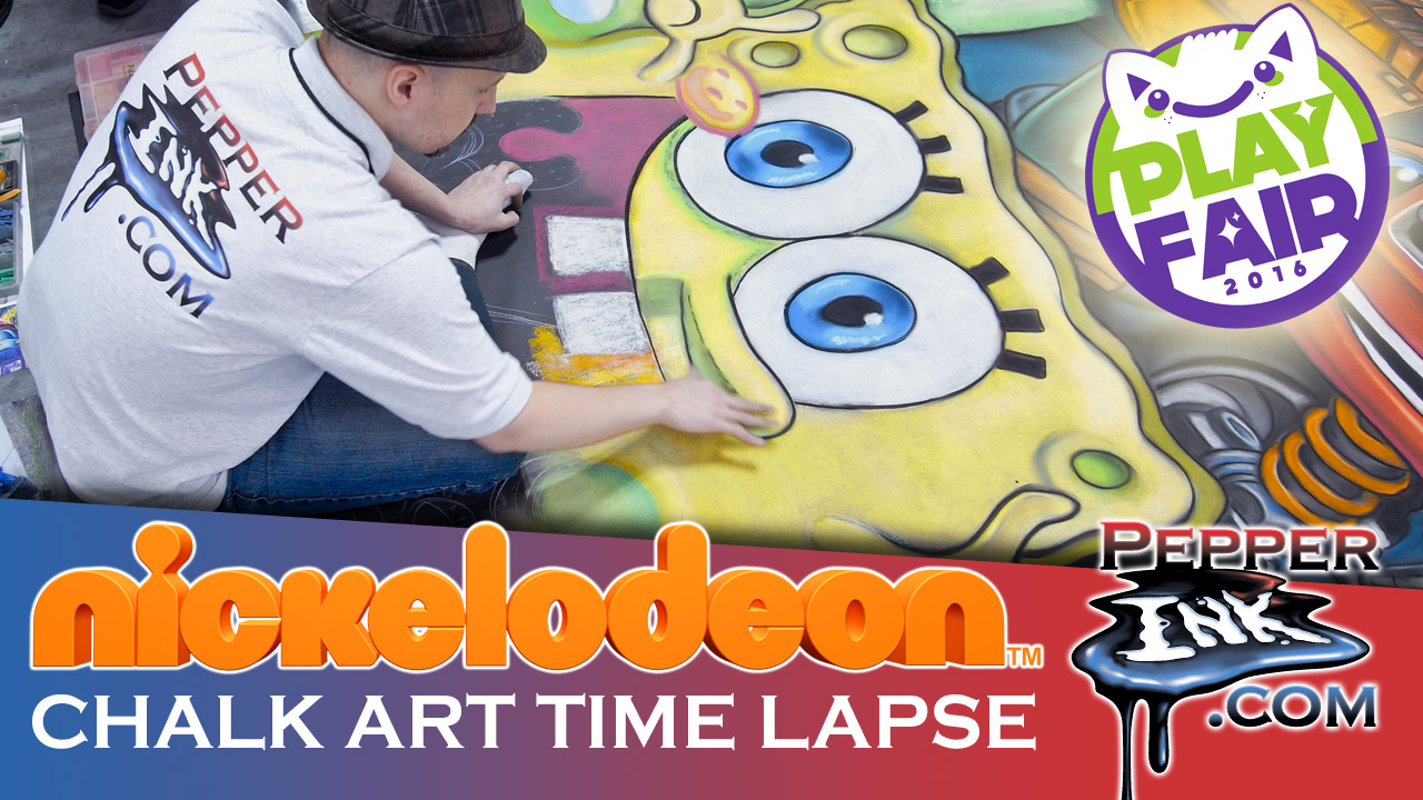 Nickelodeon Spogebob TMNT Chalk Art Time Lapse