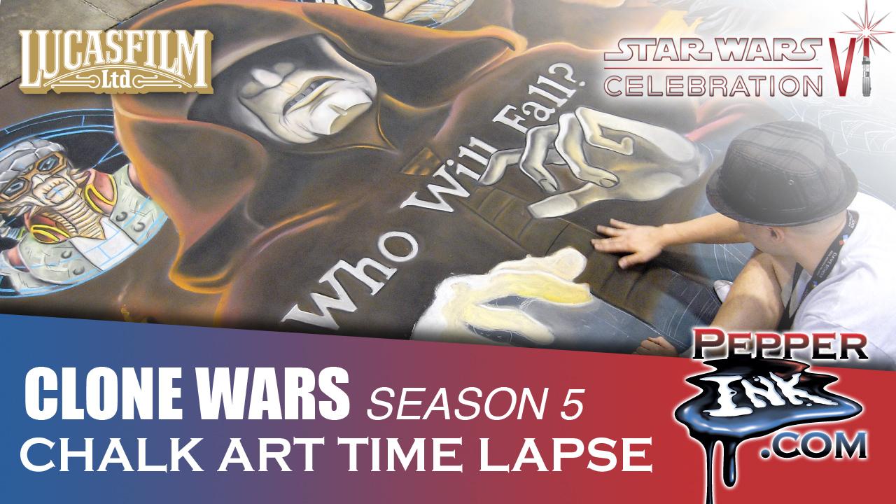 Star Wars Clone Wars Chalk Art Time Lapse