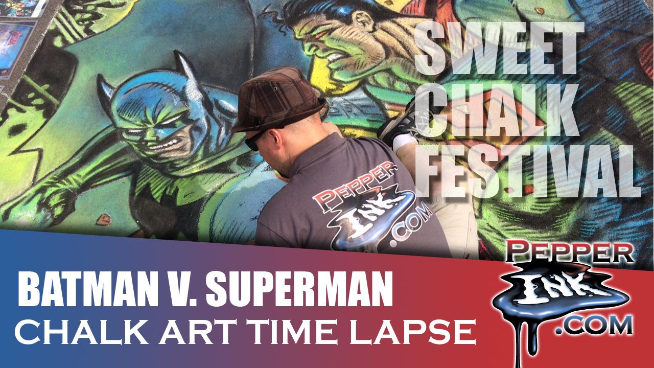 Batman Superman Chalk Art Time Lapse