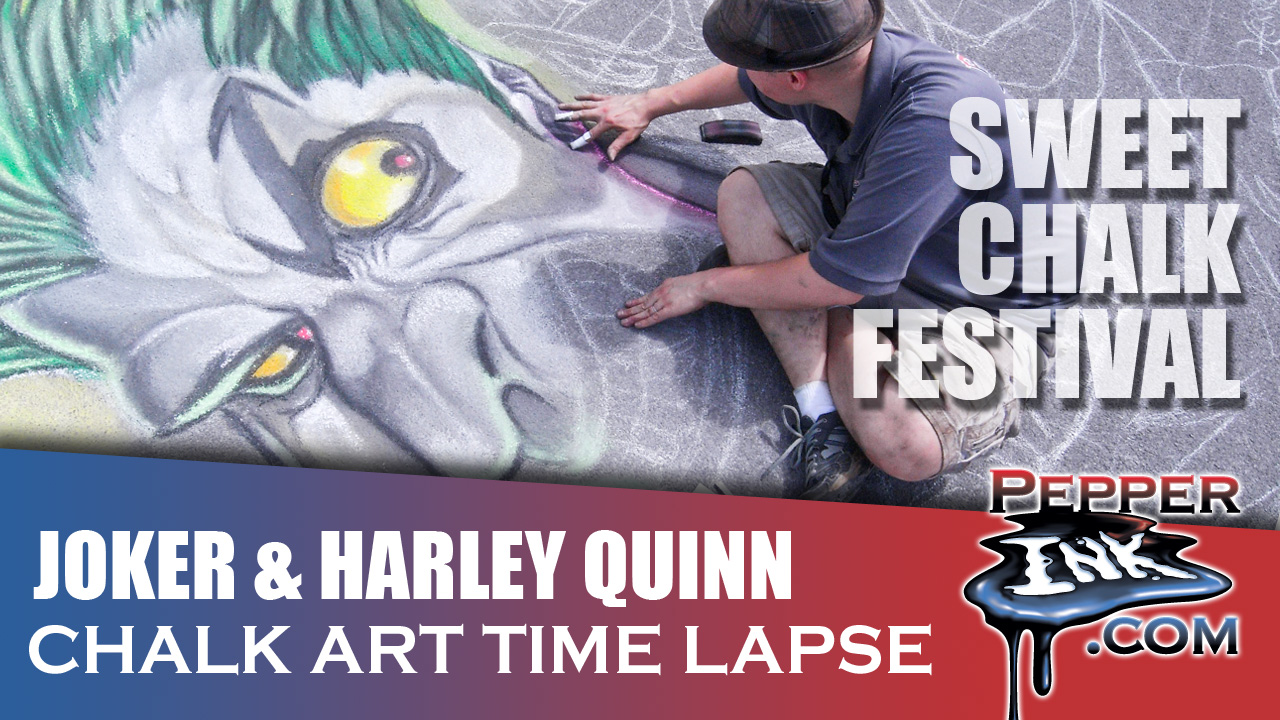 Joker and Harley Quinn Chalk Art Time Lapse