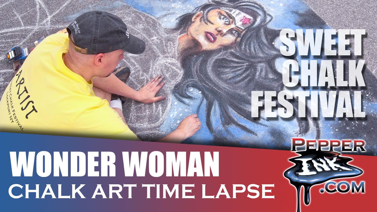 Jim Lee Wonder Woman Chalk Art Time Lapse