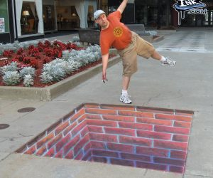 Chalk Art 3D Brick Hole