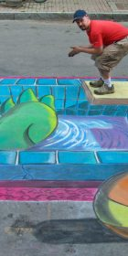 Chalk Art 3D Pool and Gronk the Dinosaur from BC