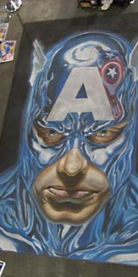 Chalk Art Alex Ross Captain America at the New York Comic Con