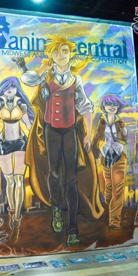 Chalk Art Anime Mascot Characters at Anime Central