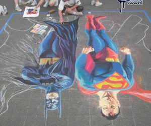 Chalk Art Batman and Superman - Original by Alex Ross