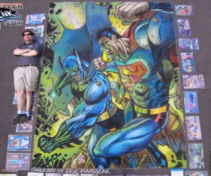 Chalk Art Batman vs Superman - original by Jim Lee