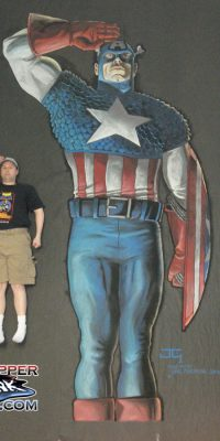 Chalk Art Captain America made at Wizard World Los Angeles