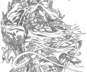devil in chair concept sketch