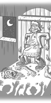 grandma trapped by zombies cartoon