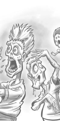 grandma exploding dolls killing zombies cartoon