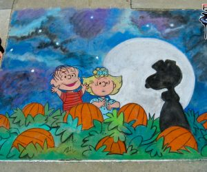 Chalk Art Linus, Sally and The Great Pumpkin (Snoopy)