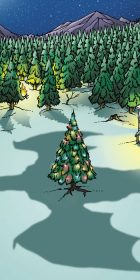 Dragon Shadow over Yule tree holiday cartoon