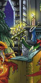 Dragons by Yule side fire cartoon