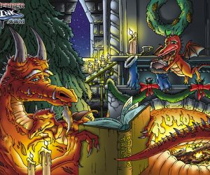 Dragons by Yule side fire cartoon