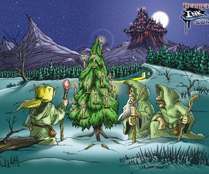 Elves around Yule Tree Holiday Cartoon
