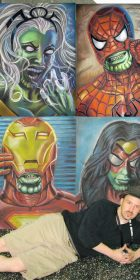 Chalk Art Marvel comics heroes as Skrulls