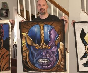 Hellboy, Thanos and Wolverine Chalk Art on canvas