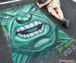 Chalk Art of Incredible Hulk Face - original art by Dale Keown