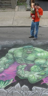 Chalk Art of Dale Keown Incredible Hulk from Marvel Comics