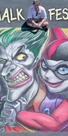 Chalk art of DC Comics Joker and Harley Quinn