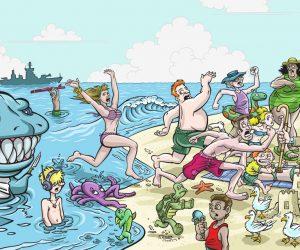 Memorial Day Beach Cartoon