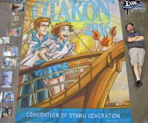 Chalk Art ship in the harbor for Otakon 2016