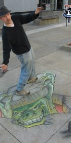 Chalk Art 3D Monster