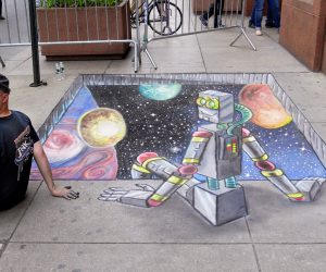 Chalk Art 3D hole to Space with Robot at the World Science Festival