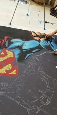 chalk art of Superman from DC Comics