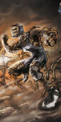 scarecrow wrestler creature illustration