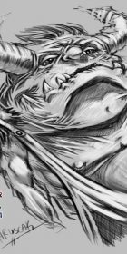horned monster digital sketch