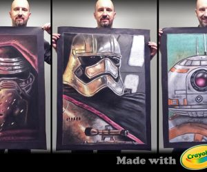 Chalk Art The Force Awakens portraits with Crayola Chalk