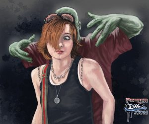 girl with zombie digital painting